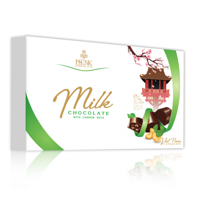 Henk Milk Chocolate with Cashew nuts in  Vietnam Landscape Box 200g