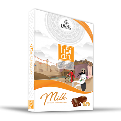 Henk Milk Chocolate with Cashew nuts in  Vietnam Landscape Box 150g